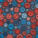 Teste padrão retro sem emenda do desordem dos botões do vermelho azul da quadriculação ilustração royalty free