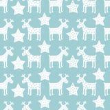 Teste padrão retro sem emenda do Natal - estrelas da rena e da noite do Xmas Ilustração Stock