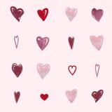 Teste padrão romântico abstrato do fundo Coração da aquarela Fotografia de Stock