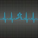 Teste padrão running do homem de EKG Fotos de Stock