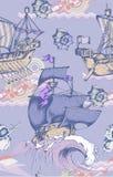 Teste padrão Sailboat antigo Estilo gravado Ilustração do vetor Foto de Stock Royalty Free