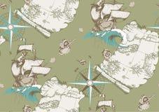 Teste padrão Sailboat antigo Estilo gravado Ilustração do vetor Fotografia de Stock