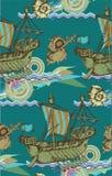 Teste padrão Sailboat antigo Estilo gravado Ilustração do vetor Imagens de Stock Royalty Free