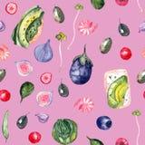 Teste padrão saudável da aquarela do alimento ilustração stock