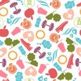 Teste padrão saudável do estilo de vida com ícones do alimento e do esporte ilustração royalty free