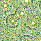 Teste padrão sem emenda étnico com penas e círculos ilustração do vetor