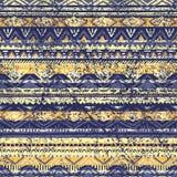 Teste padrão sem emenda étnico cor azul e amarela Fotografia de Stock Royalty Free