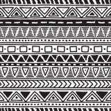 Teste padrão sem emenda étnico preto e branco Foto de Stock Royalty Free