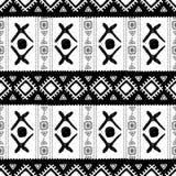 Teste padrão sem emenda étnico preto e branco Ilustração do vetor Fotografia de Stock Royalty Free
