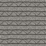 Teste padrão sem emenda étnico tirado mão do estilo Fundo geométrico abstrato da telha em preto e branco fotografia de stock