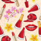 Teste padrão sem emenda Ícones altamente detalhados dos cosméticos ajustados ilustração royalty free