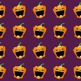 Teste padrão sem emenda Abóbora cinzelada de Halloween Fotografia de Stock