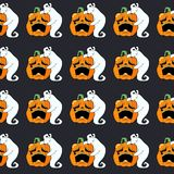 Teste padrão sem emenda Abóbora e fantasma tristes Foto de Stock Royalty Free