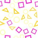 Teste padrão sem emenda abstrato com círculos coloridos e triângulos e quadrados caóticos azuis, cinzentos, amarelos, alaranjados ilustração do vetor