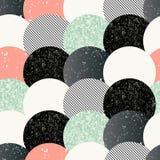 Teste padrão sem emenda abstrato com círculos textured Imagens de Stock Royalty Free