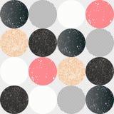 Teste padrão sem emenda abstrato com círculos textured Imagens de Stock