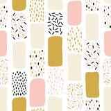 Teste padrão sem emenda abstrato com elementos pintados caóticos Vector a textura tirada mão com linhas, os pontos e formas difer Foto de Stock