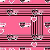 Teste padrão sem emenda abstrato com etiquetas e corações Fotografia de Stock