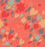 Teste padrão sem emenda abstrato com muitos detalhes bonitos. Fundo decorativo da garatuja com corações e flores ilustração stock