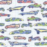 Teste padrão sem emenda abstrato com o carro bonito tirado mão Coleção da escola Ilustração do vetor dos carros dos desenhos anim ilustração stock