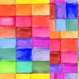 Teste padrão sem emenda abstrato com quadrados da aquarela ilustração royalty free
