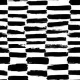 Teste padrão sem emenda abstrato da tinta Fundo com cursos artísticos no estilo esboçado preto e branco Elemento do projeto para ilustração stock