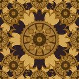 Teste padrão sem emenda abstrato de Brown com elementos decorativos redondos Fotografia de Stock Royalty Free
