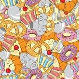 Teste padrão sem emenda abstrato do alimento dos desenhos animados Imagens de Stock