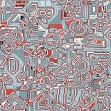 Teste padrão sem emenda abstrato do vetor de ornamento do techno do grunge Imagens de Stock