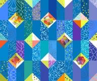 Teste padrão sem emenda abstrato geométrico Fundo do motivo dos retalhos ilustração stock
