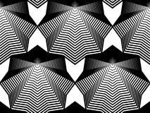 Teste padrão sem emenda abstrato illusive preto e branco com geometri Fotos de Stock
