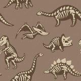 Teste padrão sem emenda adorável com os esqueletos engraçados do dinossauro no estilo dos desenhos animados ilustração stock