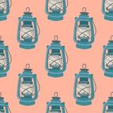 Teste padrão sem emenda agradável com lâmpada de querosene Elementos náuticos Fundo retro Ilustração do vetor Imagem de Stock