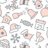 Teste padrão sem emenda ajustado do ícone do Natal Fotografia de Stock Royalty Free