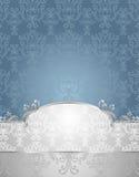 Teste padrão sem emenda ajustado no azul do estilo do Victorian e no S Fotografia de Stock