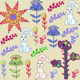 Teste padrão sem emenda animal com bunnyes bonitos e teste padrão sem emenda Fotografia de Stock Royalty Free