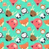 Teste padrão sem emenda animal com vaca, raposa Gato caro, porco no projeto liso ilustração do vetor