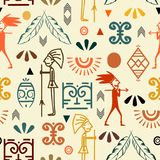 Teste padrão sem emenda antigo do Maya com mão original símbolo étnico tirado ilustração stock