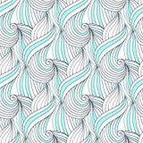 Teste padrão sem emenda azul abstrato do vetor de ondas Garatuja que repete o fundo Para a matéria têxtil ou o projeto de empacot Foto de Stock