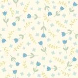 Teste padrão sem emenda azul das flores e das plantas Foto de Stock Royalty Free