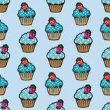 Teste padrão sem emenda azul do bolo de creme Foto de Stock Royalty Free