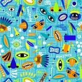 Teste padrão sem emenda azul engraçado para crianças ilustração stock
