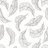 Teste padrão sem emenda A banana sae do fundo branco Fotografia de Stock Royalty Free