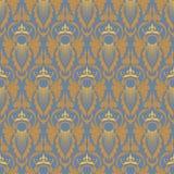 Teste padrão sem emenda barroco clássico elegante Azul e ouro Fotografia de Stock