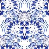Teste padrão sem emenda baseado no estilo do gzhel da pintura da porcelana Ornamento no estilo nacional Pintura azul da flor em u Fotos de Stock
