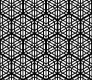 Teste padrão sem emenda baseado no ornamento japonês tradicional Kumiko, acentuado com um hexágono em preto e branco Imagem de Stock Royalty Free