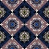 Teste padrão sem emenda bicolor com espiral e ornamento das pétalas Você c foto de stock royalty free