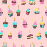 Teste padrão sem emenda Bolos de aniversário bonitos bonitos com velas FO ilustração do vetor