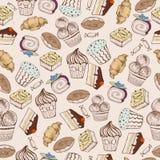 Teste padrão sem emenda Bolos decorativos do doce Foto de Stock Royalty Free