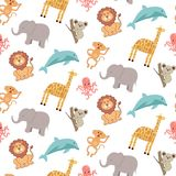 Teste padrão sem emenda bonito com animais: elefante, girafa, leão, macaco, coala, golfinho e polvo ilustração royalty free